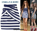 In Cheryl Cole's Closet - Camilla & Marc Blue & White Striped Skirt