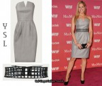 In Mary McCormack's Closet - Yves Saint Laurent Grey Dress & Cage Belt