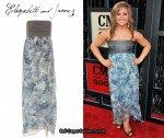 In Shawn Johnson's Closet - Elizabeth and James Blue Strapless Floral Tulip Dress
