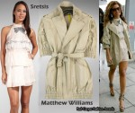 In Beyonce Knowles Closet - Sretsis Clara Tiered Dress & Matthew Williamson Coat