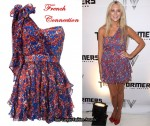 In Stephanie Pratt's Closet - French Connection One-Shoulder Blue & Red Dot Dress