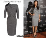 In Zoe Saldana's Closet - Giambattista Valli Grey Drape Front Dress