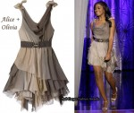 In Keke Palmer's Closet - Alice + Olivia Taupe Knotted Shoulder Layer Dress