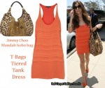 In Cheryl Cole's Closet - T-Bags Orange Tiered Dress & Jimmy Choo Bag