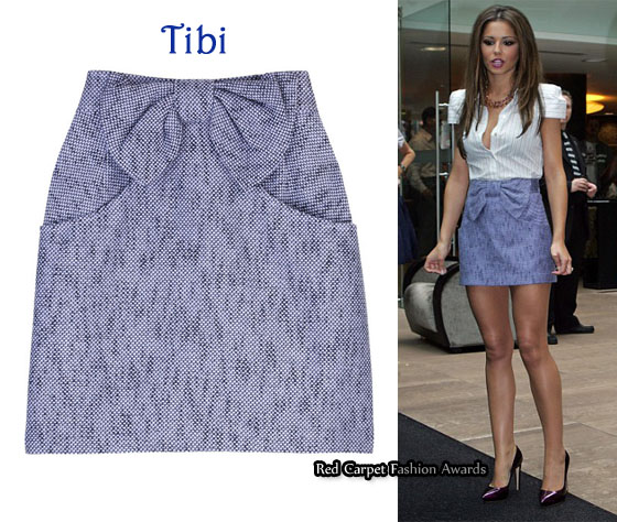 In Cheryl Cole s Closet - Tibi Bow Front Mini Skirt - Red Carpet ... af263b16395