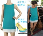 In Cheryl Cole's Closet - Alice + Olivia Turquoise Silk Tank Dress & Brian Atwood Heels
