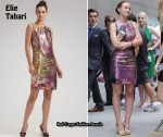On The Gossip Girls Set With Leighton Meester Wearing Elie Tahari & Blake Lively Wearing Herve Leger
