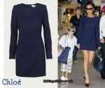 In Victoria Beckham's Closet - Chloé Navy Blue Long Sleeved Dress
