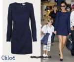 In Victoria Beckham's Closet - Chloé Navy Blue Long Sleeved Dress