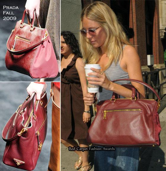 how to spot fake prada bags - Sienna Miller\u0026#39;s Obsession - Prada Saffiano \u0026amp; Tessuto Tote - Red ...