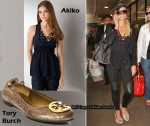 In Paris Hilton's Closet - Akiko Silk Tank With Beaded Necklace & Tory Burch Ballets