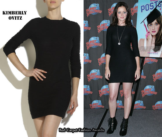 Who Alexis Bledel Wearing A Kimberly Ovitz Jacob Jersey Mini Dress