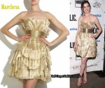 In Anne Hathaway's Closet - Marchesa Strapless Pleated Organza Dress