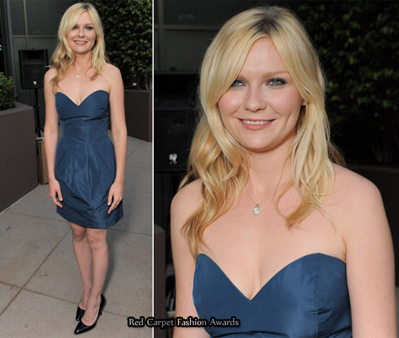 Kristen Dunst opted for a cute blue Miu Miu strapless mini dress with black ...