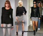In Rihanna's Closet - Torn by Ronny Kobo Tee & Pleasure Doing Business Striped Skirt