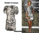 In Katie Cassidy's Closet - Balenciaga Drape Detail Leopard Print Dress