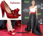 In Lara Spencer's Closet - Valentino Couture Red Patent Bow Peep-Toes