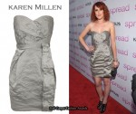 In Rumer Willis' Closet - Karen Millen Metallic Crinkle Dress