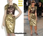 In Anna Wintour's Closet - Oscar de la Renta Metallic Jacquard Dress
