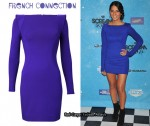 In Olivia Munn's Closet - French Connection Long Sleeve Blue Fitted Dress