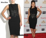 In America Ferrera's Closet - Moschino Safety Pin-Embellished Black Dress