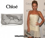 In Becki Newton's Closet - Chloe Leather Bow-Embellished Clutch