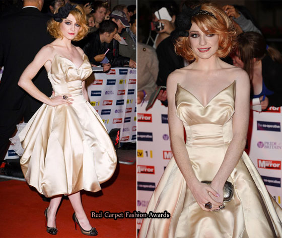 78db81bf04b Nicola Roberts attended the Vivienne Westwood Spring 2010 show this weekend  in Paris. Bizarrely she wore a Vivienne Westwood Gold Label Lily wedding  gown ...