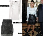 In Princess Sirivannavari Nariratana's Closet - Balmain Bow Blouse & Quilted Leather Skirt