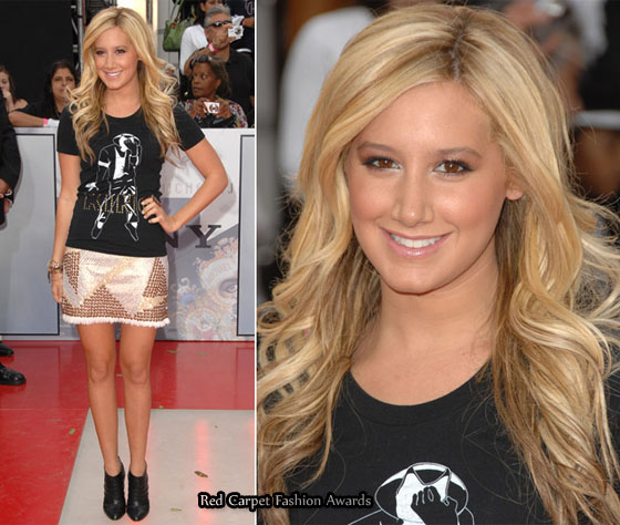 Ashley Tisdale paired a gold