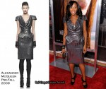 In June Ambrose's Closet - Alexander McQueen Metallic Brushstroke Peplum Dress