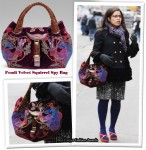 On The Ugly Betty Set With America Ferrera Carrying A Fendi Velvet Squirrel Spy Bag