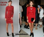 In Alexa Chung's Closet - Calvin Klein Red Crew-Neck Sheath Dress