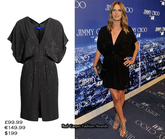 Sister Nicky Hilton opted for a batwing sleeved Jimmy Choo for H&M beaded dress