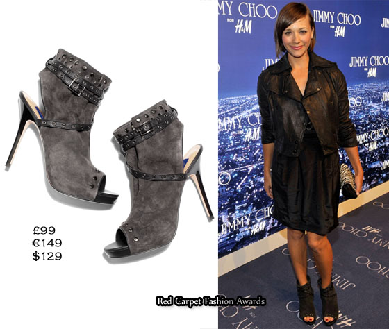 721ccb679b3 The ankle boot trend was alive on this red carpet as Rashida Jones paired  her Jimmy Choo for H M ...