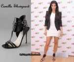 In Kim Kardashian's Closet - Camilla Skovgaard T-Strap Sandals & Elizabeth and James Blazer