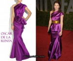 In Jessica Biel's Closet - Oscar de la Renta Pleated Duchess Satin Gown