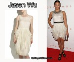 In Paula Patton's Closet - Jason Wu Embroidered Chiffon Draped Dress