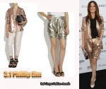 In Rachel Bilson's Closet - 3.1 Phillip Lim Double-Breasted Lamé Blazer & Lamé Harem Shorts