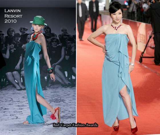 a7a34520514ef0 As much as I love the pop of colour from Momoco Tao's aqua strapless draped  Lanvin Resort 2010 dress, I'm like a bull to a red flag in lust for her red  ...
