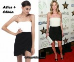 In Nicky Hilton's Closet - Alice + Olivia Black and White Strapless Drape Dress