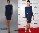 daf404d5a4a7 In Michelle Monaghan s Closet - Rachel Roy Sculpted Shoulder Dress