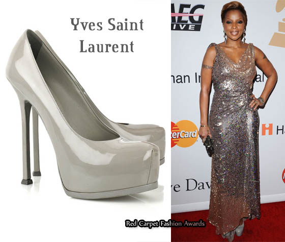 0ceff311a52 In Mary J Blige s Closet - YSL Tribtoo Grey Heels - Red Carpet ...
