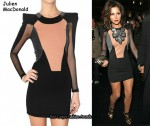 In Cheryl Cole's Closet - Julien Macdonald Dress & By Malene Birger Mondi Embellished Felt Necklace