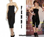 In Wang Bit Na's Closet - Fendi Stretch-Wool Bustier Jumpsuit