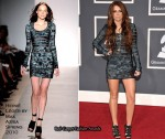 Runway To 2010 Grammy Awards - Miley Cyrus In Hervé Léger by Max Azria