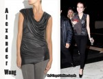 In Lindsay Lohan's Closet - Alexander Wang Draped Satin-Jersey Tunic Top