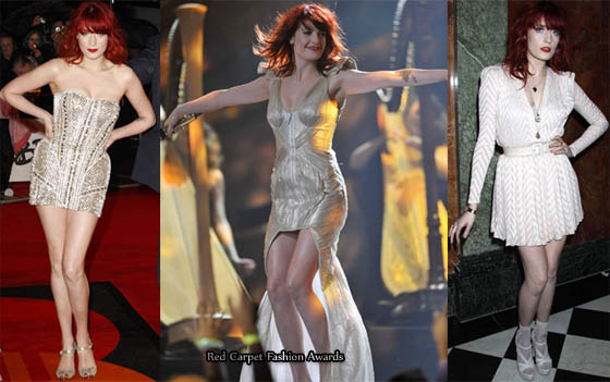 39a7b80436d0 Florence Welch of Florence and the Machine had several looks at the 2010  Brit Awards.
