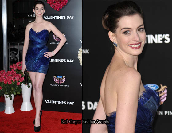 Valentine S Day La Premiere Anne Hathaway In Marchesa Red