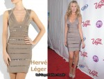 In Abigail Clancy's Closet - Hervé Léger Crystal-Embellished Bandage Dress & Sergio Rossi Heels