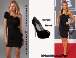 In Giuliana Rancic's Closet - Catherine Malandrino Off The Shoulder Dress & Segio Rossi Suede Platform Pumps